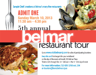 5th Annual Belmar Restaurant Tour Advance Ticket